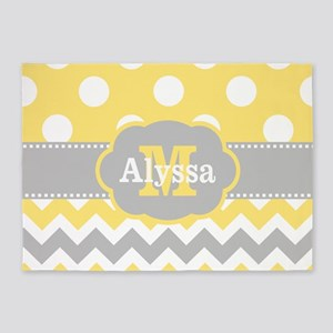 Yellow Gray Dots Chevron Monogram 5'x7'Area Rug